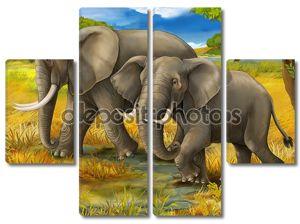 Сафари - слонов - иллюстрации для детей