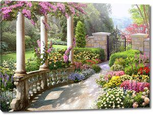 Вход в сад по тропинке с колоннами