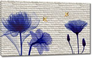 Синие цветы на кирпичной стене