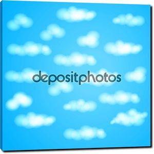 Голубое небо с облаками в фоновый узор вектор