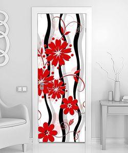 Красные цветы с волнистыми линиями