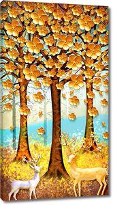 Олени под осенними деревьями
