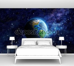 Планета Земля в  синем космосе
