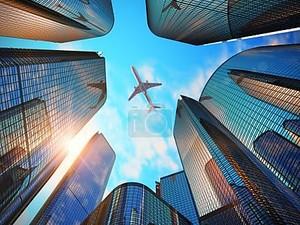 деловой район с современными небоскребами
