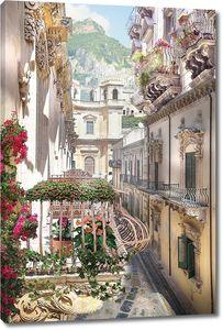 Узкая улочка с цветочными балконами