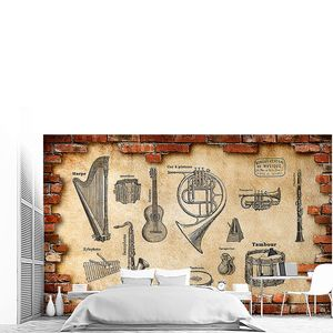 Инструменты на стене в кирпичном обрамлении