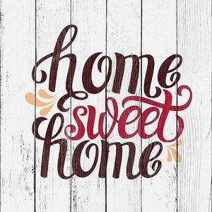 Hand lettering typography poster 'Home sweet home'