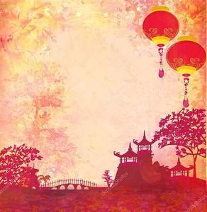 Китайские фонарики плывут над пагодами