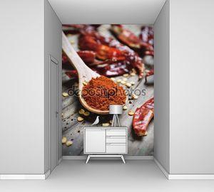 Чили перец в деревянной ложке