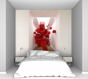 Коридор и красные кубы