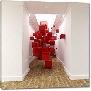 Коридор и красное кубов