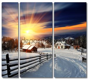 Зимний пейзаж в деревне.