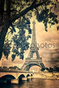 Эйфелева башня монохромный Винтаж