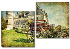 Старофранцузский замок с вагоном - художественная марочные фотография