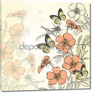 Симпатичные пастельных фоне в винтажном стиле с рукой обращается диких ro
