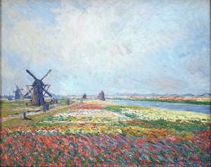 Моне Клод. Поля цветов и ветряные мельницы возле Лейден, 1886
