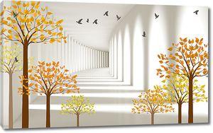 Осенние деревья на фоне тоннеля