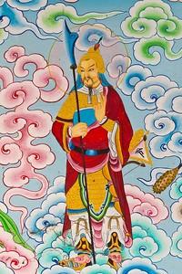 Традиционная китайская живопись на стене храма