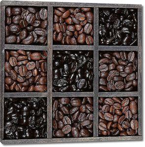 Темно обжаренный кофе в зернах