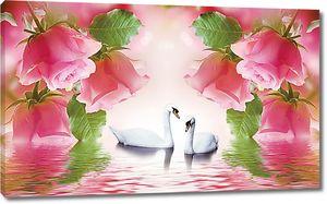 Розы с лебедями в центре