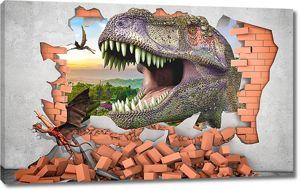 Пасть динозавра в стене