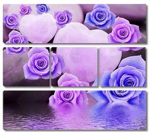 Фиолетовые розы и сердечки над водой