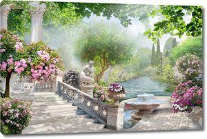 Невероятный сад с рекой фонтанами и цветами