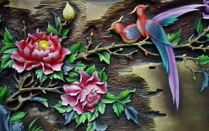 Розы с райскими птицами