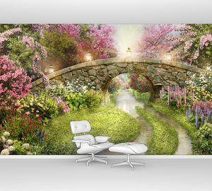 Арочный мостик в цветущем саду