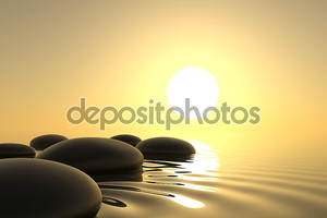 Zen камни в воде на белом фоне
