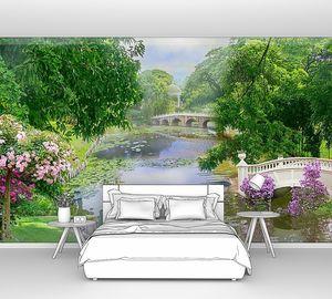 Река с кувшинками в парке