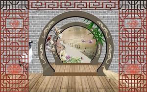 Терраса в саду, две арки в кирпичных стенах