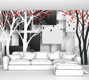 Силуэты деревьев с кубами
