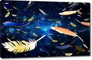 Космический фон с  перьями птиц