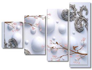 Винтажная рамка, контуры коричневого дерева с птицами