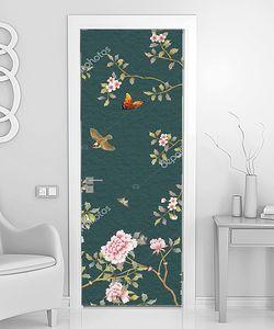Ситцевый узор из цветов и птиц