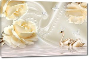 Крупные кремовые розы с лебедями