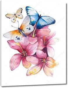 Цветы магнолии с бабочками в акварели