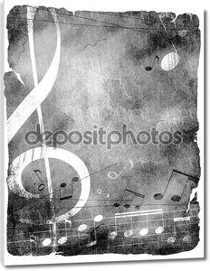 Музыкальный гранж-фон в черно-белом
