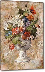 Букет полевых цветов в красивой вазе