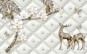 Ветка с цветами с золотыми оленями