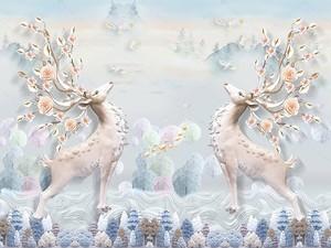 Два гордых оленя с цветущими рогами