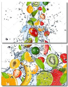 Поток воды с фруктами