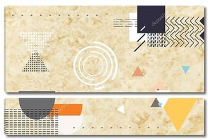 Бежевый фон с красочными геометрическими формами и линиями