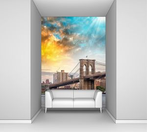 Бруклинский мост на закате в Нью-Йорке
