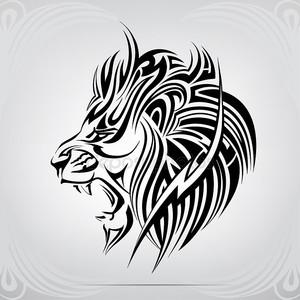 Графический рыкающий лев