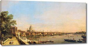 Каналетто Антонио. Вид на Темзу с терассы Сомерсет-Хауса, напротив Собора Святого Павла