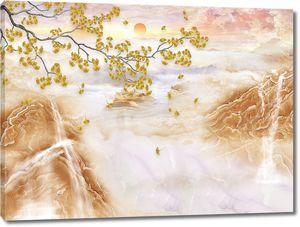 Осенняя ветка на фоне гор горах