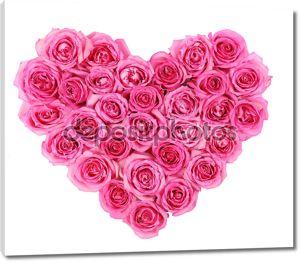 Розовые розы в форме сердца изоляции, изолированные на белом фоне
