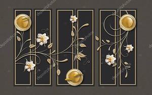 Абстрактные цветы на фоне золотых рамок